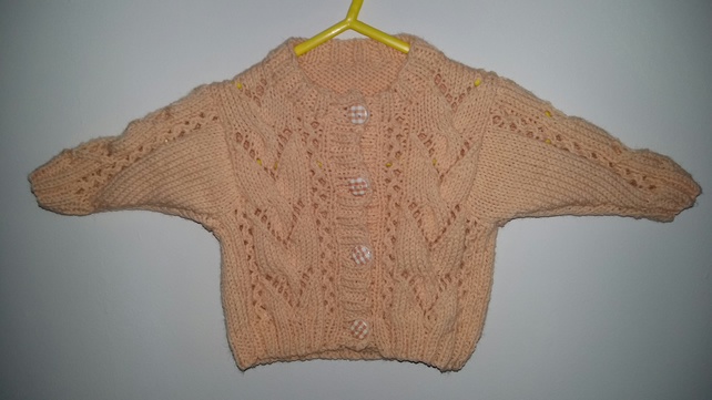 "Peach lacy cardigan 16"" chest"
