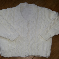 White Cotton Baby Cardigan 18""
