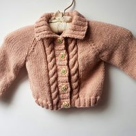 "Dusky Pink Aran Cardigan 20"" chest"