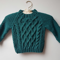 "Hand Knitted Aran Jumper 22"" chest"