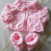 Hand Knitted Pink Matinee Coat and Bootees Gift Set