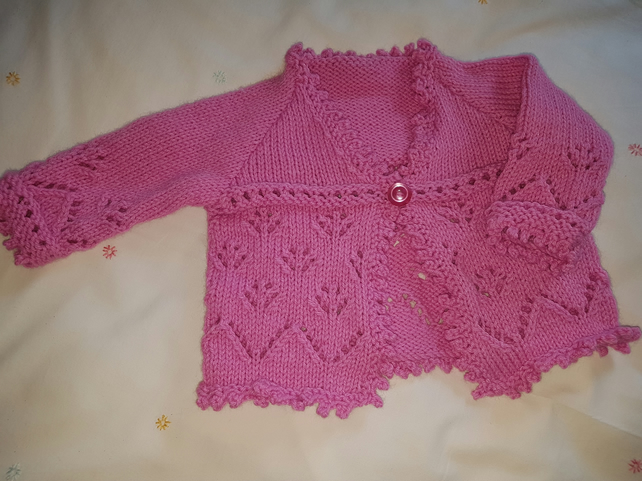 Hand Knitted Pink Baby Cardigan
