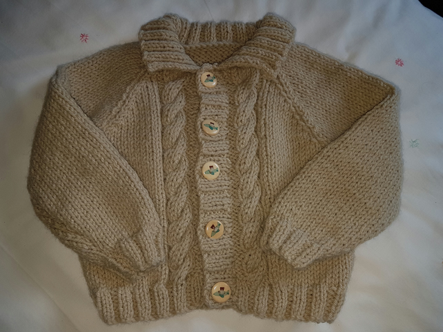 "Childs Hand Knitted Aran Jacket 20"" Chest"