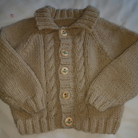 "Childs Hand Knitted Aran Cardigan 20"" Chest"