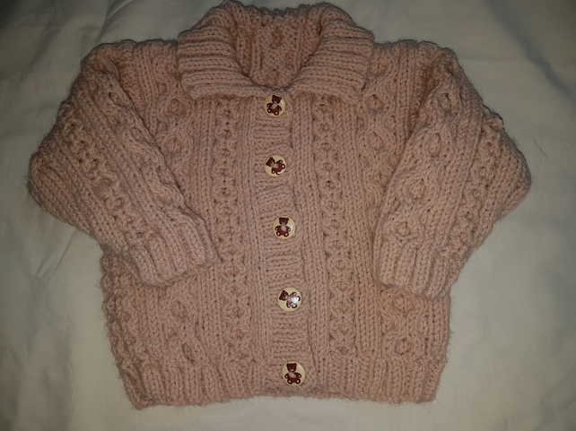 Girls Hand Knitted Pink Aran Jacket 20""