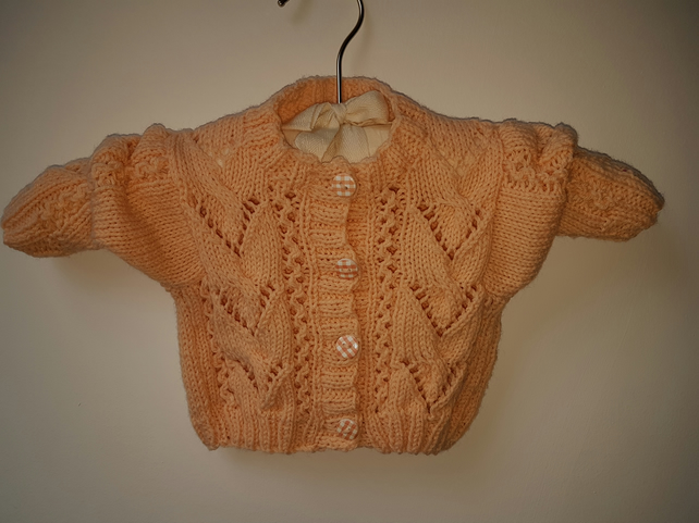"Hand Knitted Apricot Baby Cardigan 16"" chest"