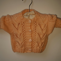 "Hand Knitted Peach Cardigan 16"" chest"