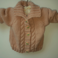 Girls Pink Hand Knitted Aran Jacket
