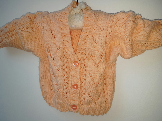 Hand Knitted Peach Baby Cardigan  18""