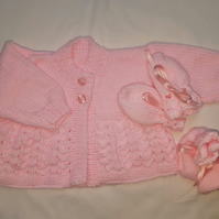 Hand Knitted Pink Baby Cardigan, Mittens and Bootees Gift Set
