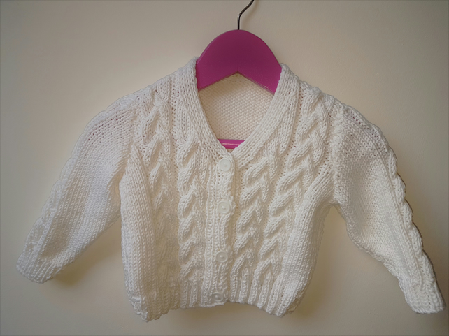 White Hand Knitted Cotton Cardigan
