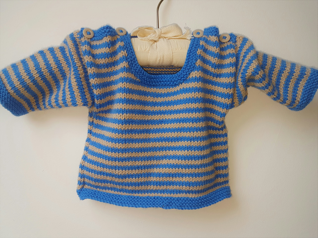 Baby Jumper with blue and beige stripes