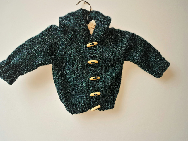 Hand Knitted Hooded Cardigan