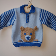 Hand Knitted Blue Jumper with Teddy Motif 6-12 months