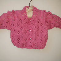Lacy Pink Cotton Baby Cardigan