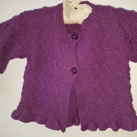 "Hand Knitted Zig ZagCardigan  22"" chest"