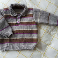 Hand Knitted Grey Jumper with Collar