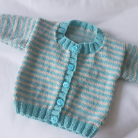 Hand Knitted Baby Cardigan with Stripes