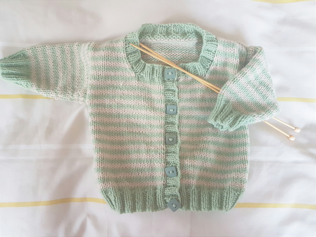 Green and Cream Stripe Hand Knitted Baby Cardigan 18""