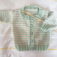 Hand Knitted green and cream Baby Cardigan 18""
