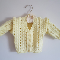 Hand Knitted Yellow Lacy Cardigan 20""