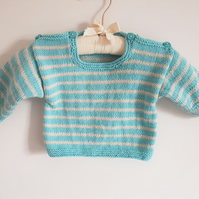 Hand Knitted Childs Jumper with Stripes