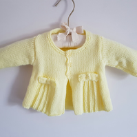 Hand Knitted New Baby Lemon Cardigan with Pleats and Bows