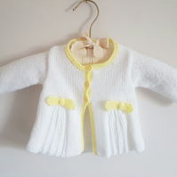 Hand Knitted White Baby Cardigan with Lemon Edging 16""