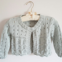 Hand Knitted Girls Cotton Lacy Cardigan