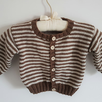 Brown and Cream Childs Cardigan