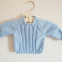 Hand Knitted Blue Jumper size 6- 12 months
