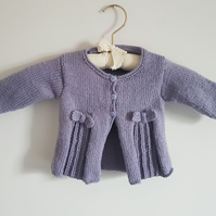 Hand Knitted Lilac Cardigan with Pleats and Bows