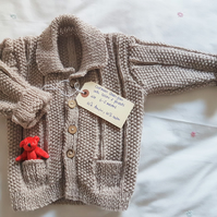 Hand Knitted Textured Oatmeal Cardigan