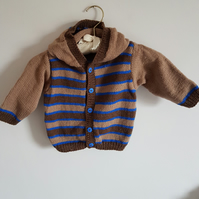 Hand Knitted Hooded Cardigan with Brown and Blue Stripes