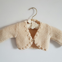Hand Knitted Cotton Bolero Baby Cardigan 6-12 months