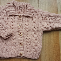 "Hand Knitted Dusky Pink Cardigan 20"" Chest"