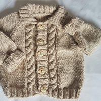 "Hand Knitted Aran Cardigan 20"" Chest"