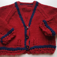 Hand Knitted Red Baby Cardigan 0-6 months