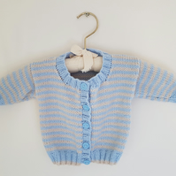 Hand Knitted Blue and Cream Stripe Baby Cardigan 18""