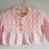 Girl's Pink Hand Knitted Cardigan with Cable and Bobble Pattern 22""