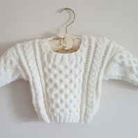 Hand Knitted White Cabled Baby Jumper age 20""