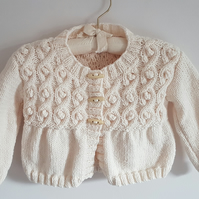 Hand Knitted Cream Cardigan with Cable and Bobble Pattern 22""