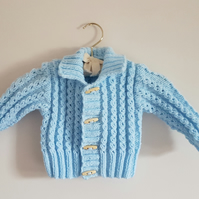 Child's Hand Knitted Blue Aran Cardigan