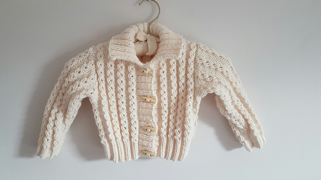 Child's Hand Knitted Cream Aran Cardigan