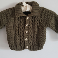 Child's Hand Knitted Olive Green Cardigan 22""