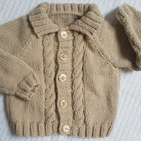 "Child's  Aran Cardigan 20"" Chest"