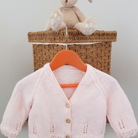 Hand Knitted Pale Pink Lace Edge Cardigan 6-12 months