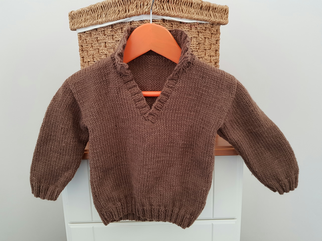 Brown Hand Knitted Baby Jumper 20""