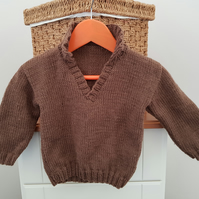 Hand Knitted Brown Baby Jumper 20""