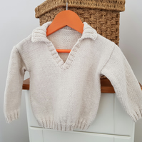 "Hand Knitted Cream Baby Jumper 20"" with collar"